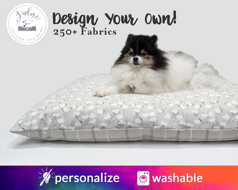 Personalized Dog Bed Pillow Cover  Your Choice of fabrics  image 0