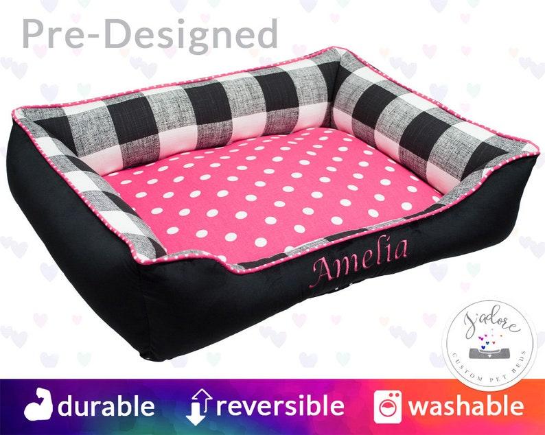 Personalized Pink Dog Bed  Black Hot Pink Buffalo Plaid  image 0