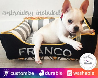 Black & Gray Small Dog Bed - Gray White Stripe, Black, Yellow - Fun, Classy Designer Dog Bed | Design Your Own!