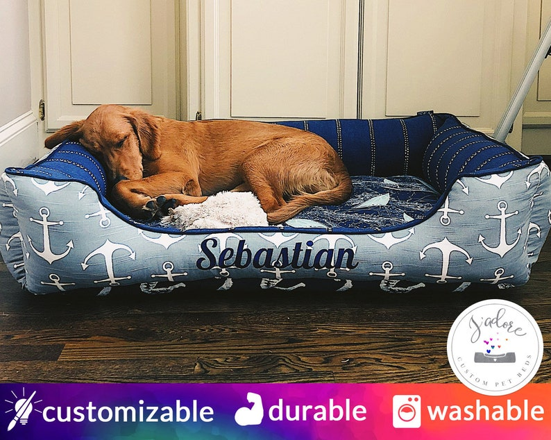 Nautical Large Dog Bed  Personalized Sail Boats Anchors image 0