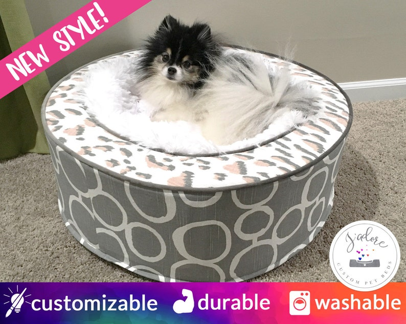 Personalized Round Dog Bed Cat Bed Luxurious Pet Bed  image 0