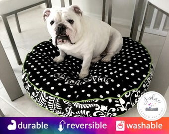 Large Round Dog Bed with Insert | Black, Chartreuse, Paisley, Polka Dot | You choose size and fabrics - Custom Round Dog Bed