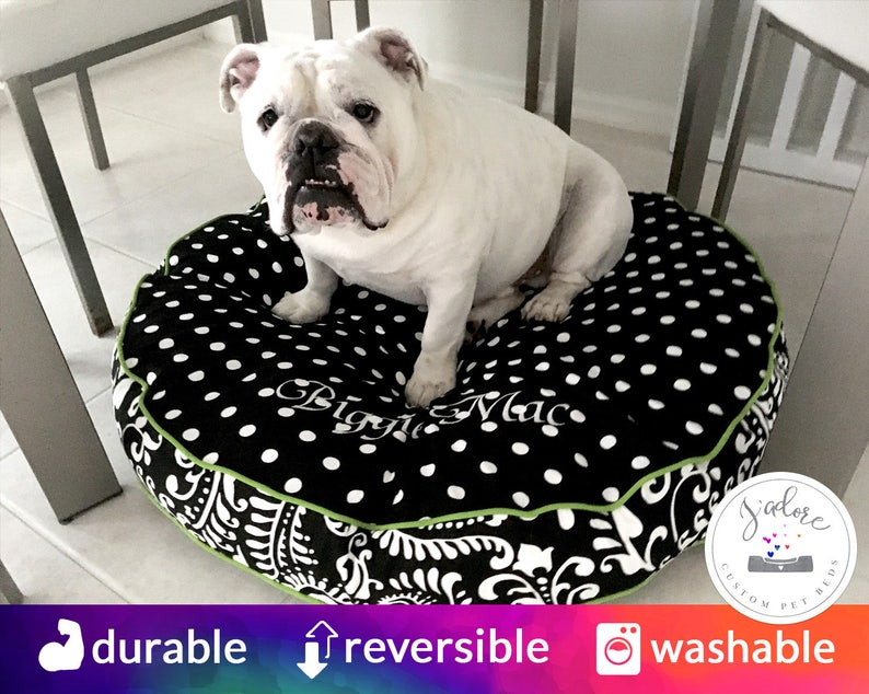 Large Round Dog Bed with Insert  Black Chartreuse Paisley image 0