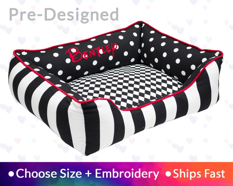 MacKenzie Style dog bed Black Red  Harlequin Stripes Polka image 0