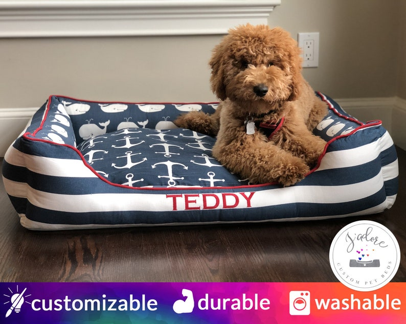 Nautical Dog Bed Large Pet Bed  Whales Stripe Anchors Navy image 0