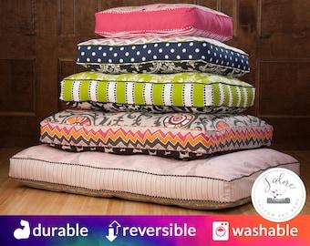 Custom Large Dog Bed Cushion - Memory Foam, HR Foam, or Fiberfill | You choose fabrics & size - Polyfill or Foam Insert Included