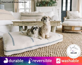 Feed Sack Dog Bed with Plush Insert | Farmhouse Dog Bed, Grain Sack Dog Bed, Country Dog Bed | Red Stripe, Blue Stripe, Black Stripe