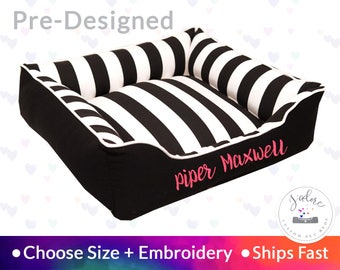 Black & White Stripe Dog Bed with Embroidery - Stripe, Bold, Contrast | Washable, Reversible and High Quality - Ships Fast!