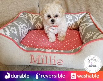 Small Dog Bed Cute Dog Beds Dog Lover Gift Classic Coral Gray made to order
