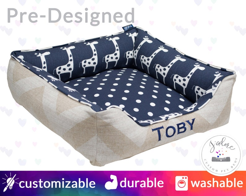 Blue Dog Bed Cat Bed Personalized  Giraffes Polka Dot image 0