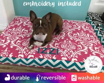 Custom Dog Pillow Dog Bed Cushion Pet Bed Rectangle Custom Size Cushion Personalized Pink Turquoise