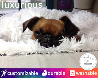 Soft Dog Bed with Plus Blanket | Luxurious Dog Bed or Cat Bed | Choose Your Fabrics & Size