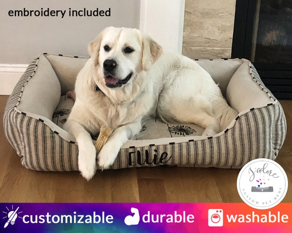 Washable Dog Bed Cover insert included Dog Mattress Choose your fabric and personalize Blue Pet Mattress Grey Striped Dog Bed