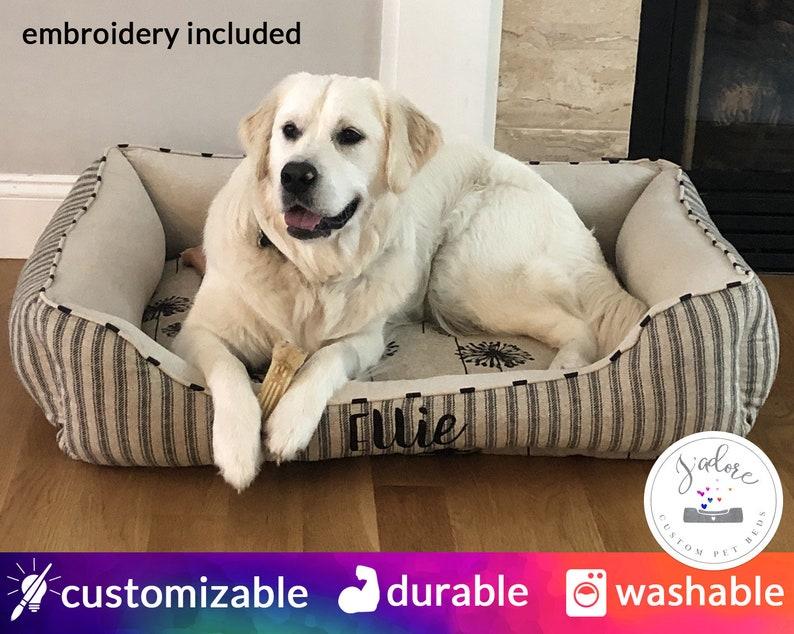 Large Dog Bed Personalized  Ticking Dandelion Classic Dog image 0