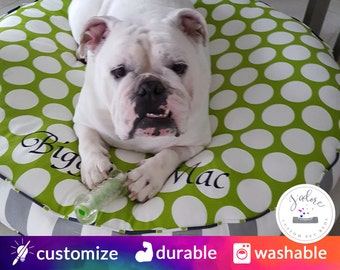 Round Dog Bed with Insert | Chartreuse Green, Gray, Navy Blue | You choose size and fabrics - Custom Round Dog Bed