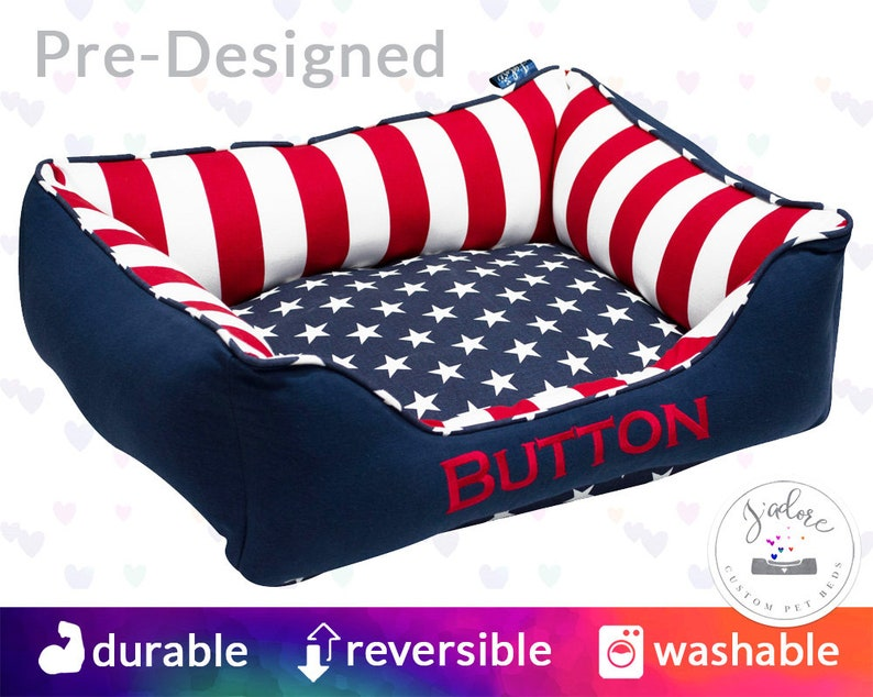 Patriotic Dog Bed  Stars Stripes Red White Blue  military image 0
