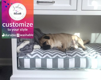 Custom Size Dog Bed Cushion Cabinet Dog Beds crate nook pillow furniture grey chevron stripe washable made to order