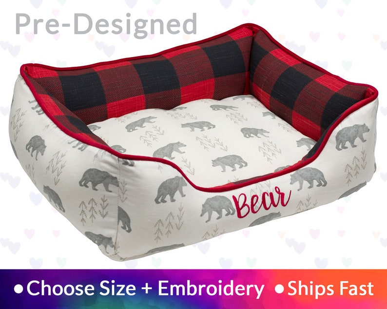 Winter Lodge Farmhouse Dog Bed Pet Bed  Gift for Hunter image 0