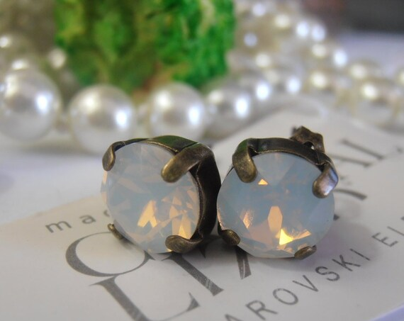 White Opal Post Earrings with Swarovski Crystals / Antique Bronze Studs