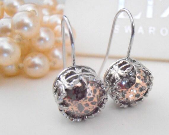 Rose Patina Platinum Drop Earrings w/ Swarovski Crystals / Art Deco Filigree Jewelry