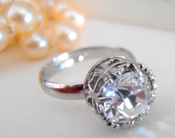 Art Deco Solitaire Crystal Ring / Bridal Swarovski Diamond Clear Crystal Adjustable Ring