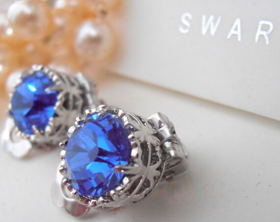 Sapphire Clip On Earrings / Swarovski Clip On /Non Pierced for girls / Art Deco Post Filigree Clips / Blue Crystal Earrings