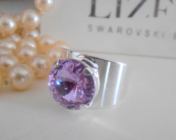 Silver Adjustable Band Ring w/ Swarovski / Metal Cuff Ring / Lavender Women Jewelry