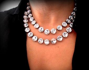 Anna Wintour Swarovski® Necklace Handmade / Wedding Crystal Tennis Choker / Women Bridal Jewelry