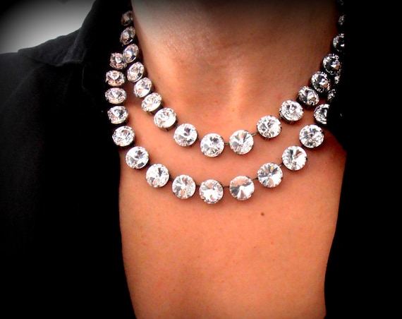 Anna Wintour Statement Swarovski Necklace / Wedding Tennis Choker / Bridal Jewelry