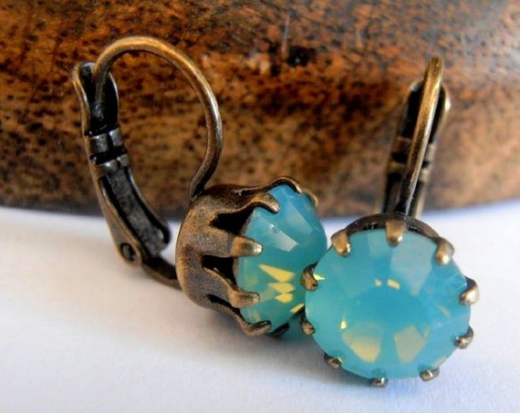 Pacific Opal Swarovski Crystal Leverback Earrings / Dangle & Drop / Womens gift