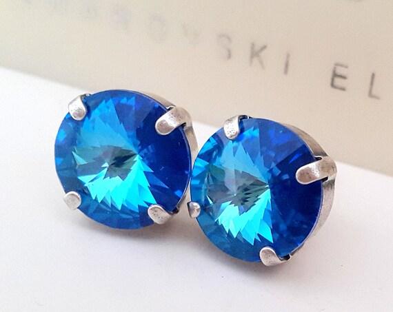 Ocean DeLite Rivoli Stud Earrings w/ Swarovski Crystals 12mm