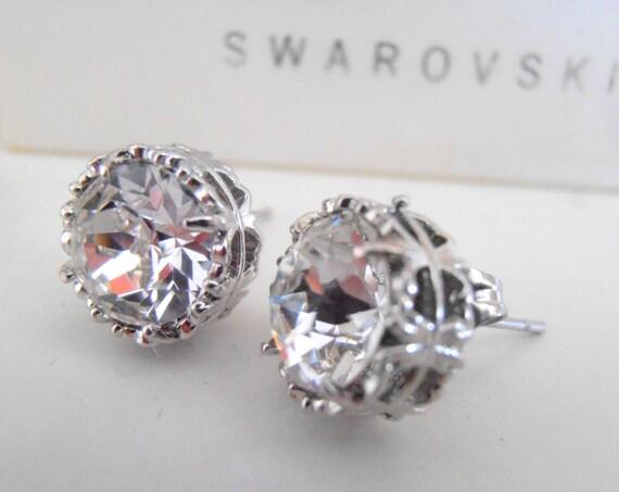 Wedding Swarovski Stud Earrings • Crystal Bridal Art Deco Steel Earrings
