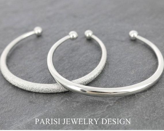 Metal Cuff Silver Bracelet • Stacking Jonc Bangles • Boho Jewelry