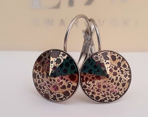 Amethyst Rose Patina Rivoli Drop Earrings w/ Swarovski Crystals 1122
