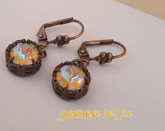 Sunshine Yellow DeLite Bronze Earrings made with Swarovski Crystals