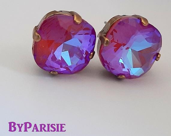 Lotus Pink DeLite Stud Earrings with Swarovski Crystals 4470