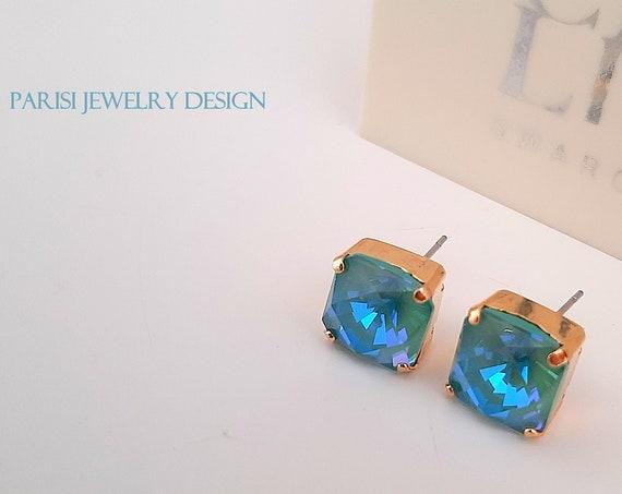 Silky Sage DeLite Square Gold Stud Earrings w/ Swarovski Crystals