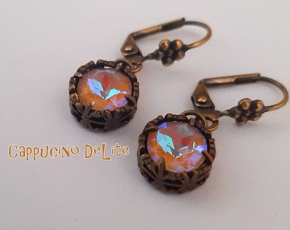 Cappucino DeLite Earrings with Swarovski Crystals/ Antique Bronze