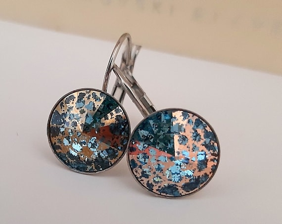 Aquamarine Rose Patina Rivoli Drop Earrings w/ Swarovski Crystals 1122