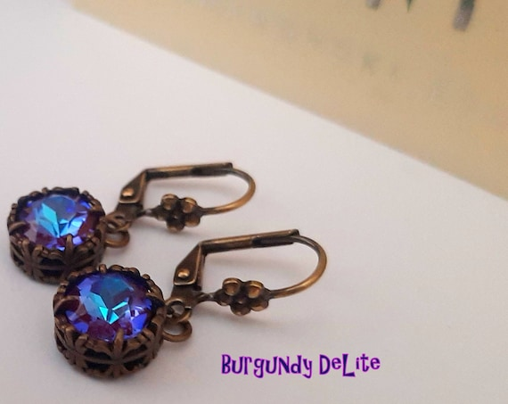 Antique Bronze Jewelry / Burgundy DeLite Drop Swarovski Earrings