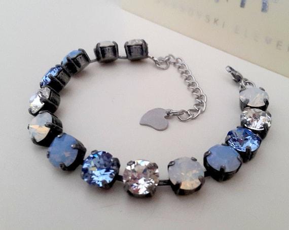 Air Blue Opal Tennis Bracelet w/ Swarovski Crystals • Mother's Day Gift