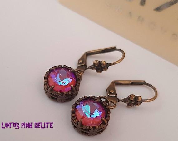 Lotus Pink DeLite Dangle Earrings with Swarovski • Antique Bronze