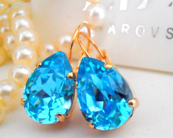 Light Turquoise Pear Teardrop Earrings / Wedding Bridesmaids Swarovski Earrings / Bridal Leverback Gold Earrings / Birthday Gift