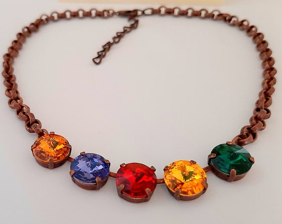 Multi-colors Rivoli Necklace with Swarovski Crystals • Christmas Jewelry