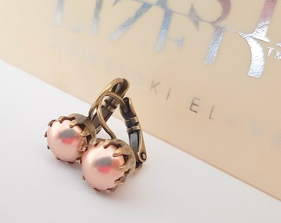 Rose Gold Dangle & Drop Earrings w/ Swarovski Pearls in Antique Bronze