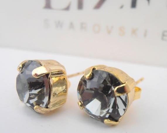 Swarovski Stud Earrings / Pierced Post Earrings / Black Diamod / Gold plated Setting /  Fashion Trend Earrings / Costume Jewelry