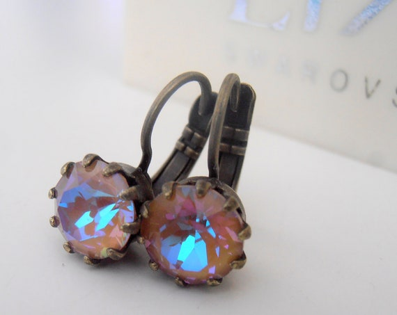 Cappuccino DeLite Drop Earrings with Swarovski Crystal • Antique Jewelry