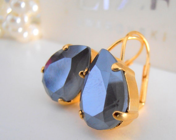 Dark Grey Teardrop Gold Earrings w/ Swarovski Crystals