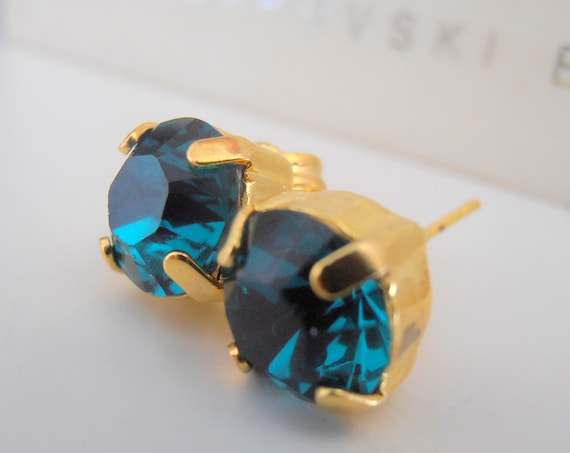 Gold Emerald Swarovski Post Earrings / Dainty Pierced Jewelry