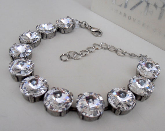 Clear Rivoli Swarovski Crystal Bracelet • Tennis Cupchain • Bridal Jewelry